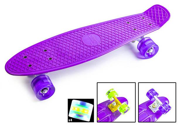 """Скейт """"Penny Board"""". Фиолетовый цвет. Светящиеся колеса., фото 2"""