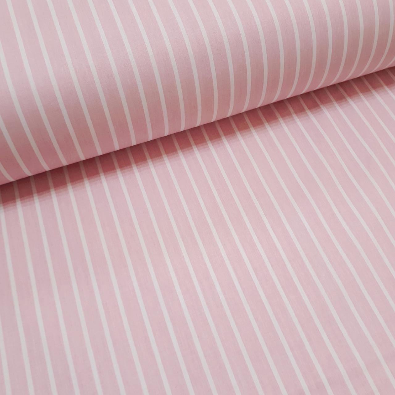 Ткань поплин белая полоска на розовом (ТУРЦИЯ шир. 2,4 м) №32-68 ОТРЕЗ(0,75*2,4м)
