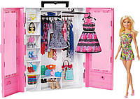 Кукла Барби модный шкаф гардероб розовый с одеждой и обувью Barbie Fashionistas