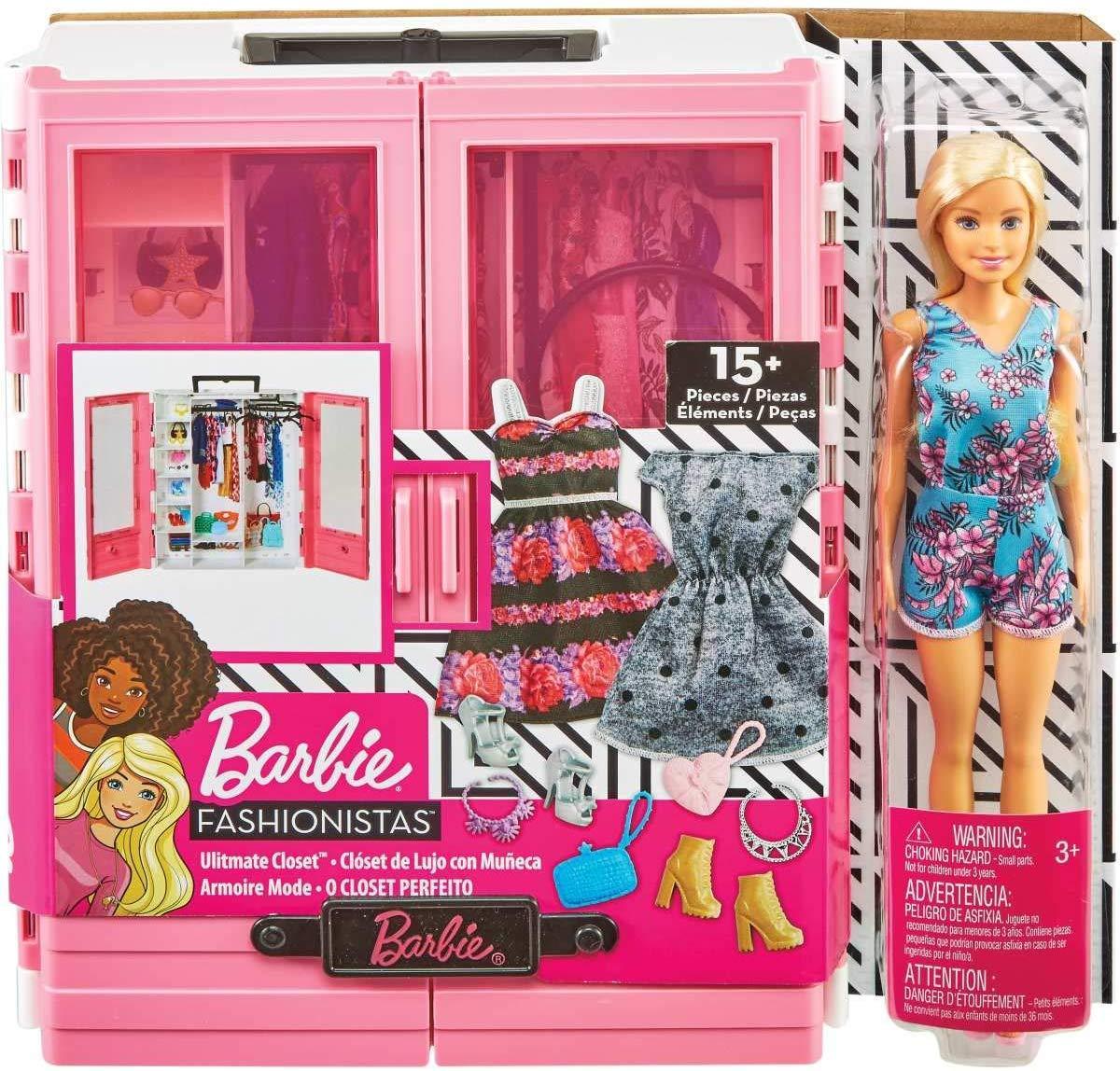 Кукла Барби и модный шкаф гардероб розовый с одеждой и обувью Barbie Fashionistas