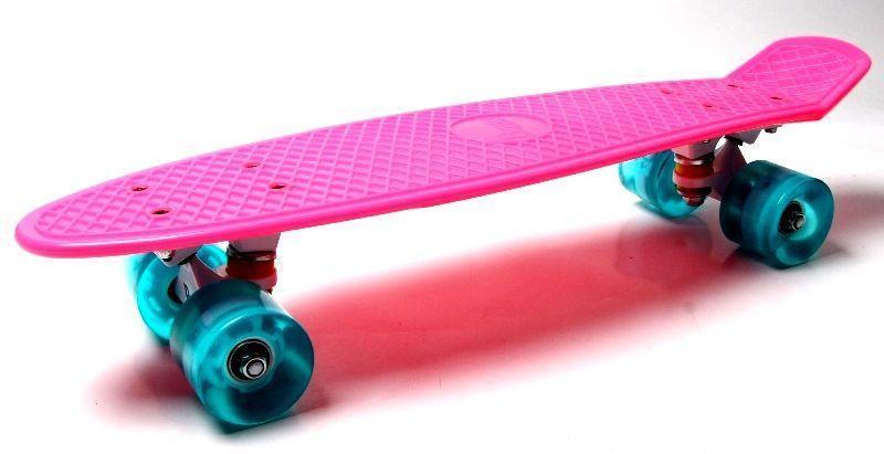 """Скейт """"Penny Board"""". Розовый цвет. Светящиеся бирюзовые  колеса."""