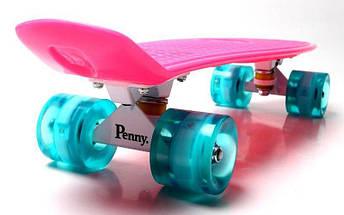 """Скейт """"Penny Board"""". Розовый цвет. Светящиеся бирюзовые  колеса., фото 3"""