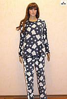 Пижама женская махровая теплая синяя, теплый домашний комплект 44-54 р.