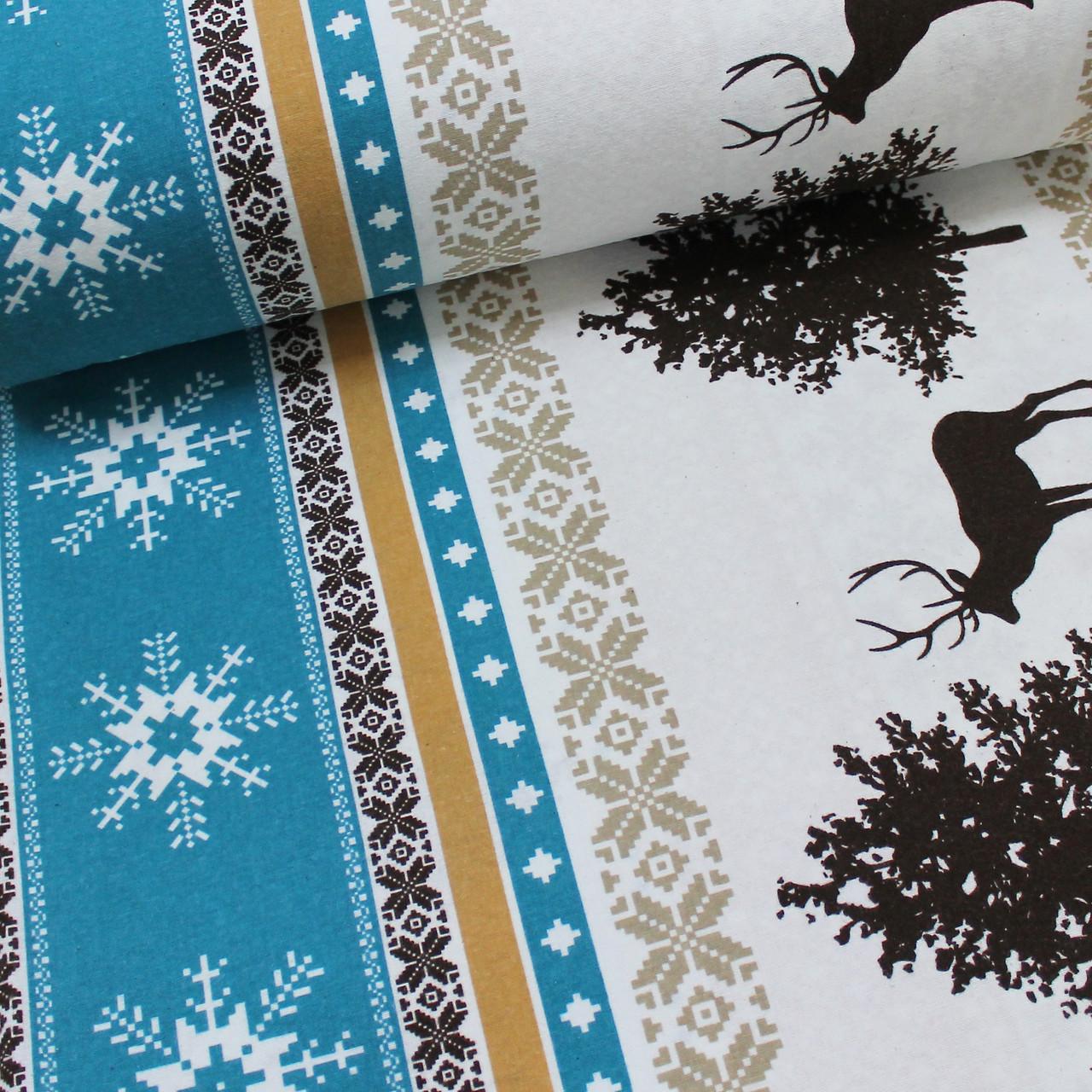 Фланелевая ткань (ТУРЦИЯ шир. 2,4) Олени на полоске с бирюзовым орнаментом