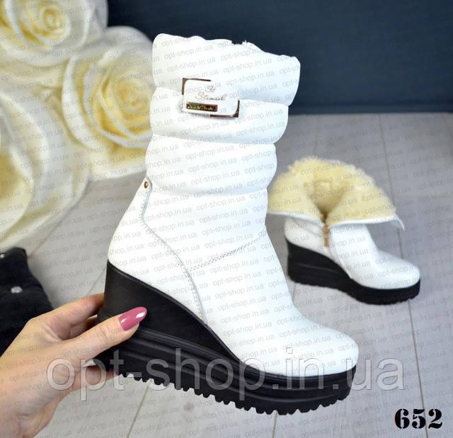 Женские зимние белые сапоги