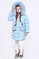 Детская зимняя куртка для девочки с мехом голубая DT-8294-7, фото 1