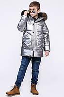 Детская зимняя куртка для мальчика сталь DT-8279-20