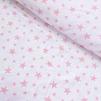 Муслин с мелкими розовыми звездами на белом, ширина 90 см