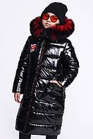 Куртка пуховик зимняя для девочки лаковая черная DT-8284-8, фото 1