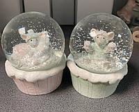 Набор из 2 снежных шаров Новогодние мышки 192-007. Символ 2020 года