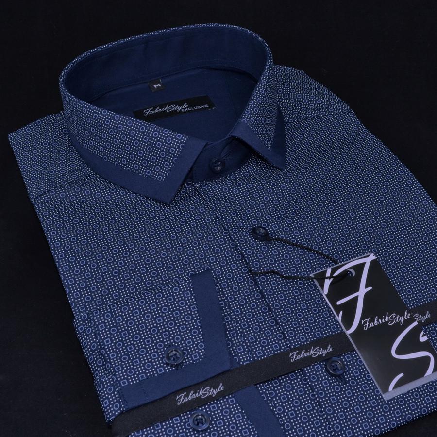 Сорочка чоловіча, приталена (Slim Fit), з довгим рукавом Fabrik Style T2277V4 100% бавовна M(Р)
