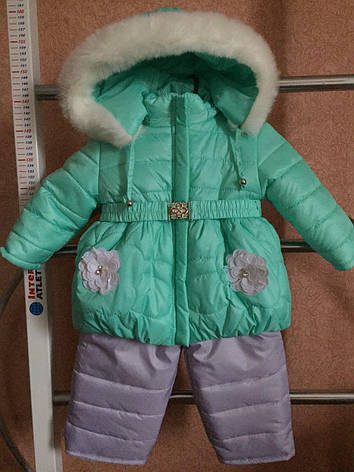 Утепленный практичный детский комбинезон для девочек, фото 2