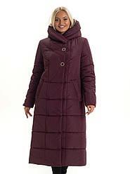 Женский длинный зимний пуховик / пальто  бордо большихразмеров размер 46 48 50 52 54 56 58