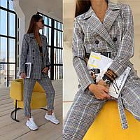 Костюм женский стильная классика пиджак и брюки в трендовую клетку Dld1895
