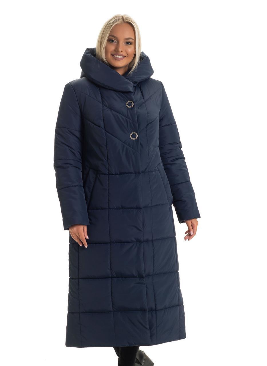 Женский длинный зимний пуховик / пальто синий  большихразмеров размер 46 48 50 52 54 56 58