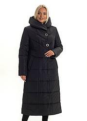 Женский длинный зимний пуховик / пальто чёрный большихразмеров размер 46 48 50 52 54 56 58