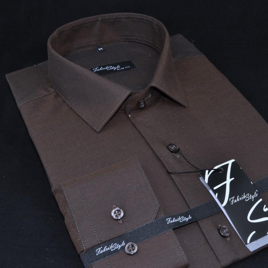 Сорочка чоловіча, приталена (Slim Fit), з довгим рукавом Fabrik Style slim-1512102-3 100% бавовна M(Р)