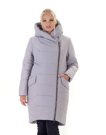 Женский зимний пуховик / куртка без меха серый батал размер 42 44 46 48 50 52 54 56, фото 2