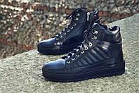 Мужские зимние ботинки кожаные с натуральным мехом черные модные Хайтопы, фото 1