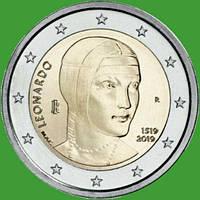 Италия 2 евро 2019 г. 500 лет со дня смерти Леонардо да Винчи . UNC