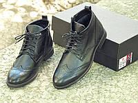 Мужские зимние ботинки кожаные внутри клетчатая байка черные классические, фото 1