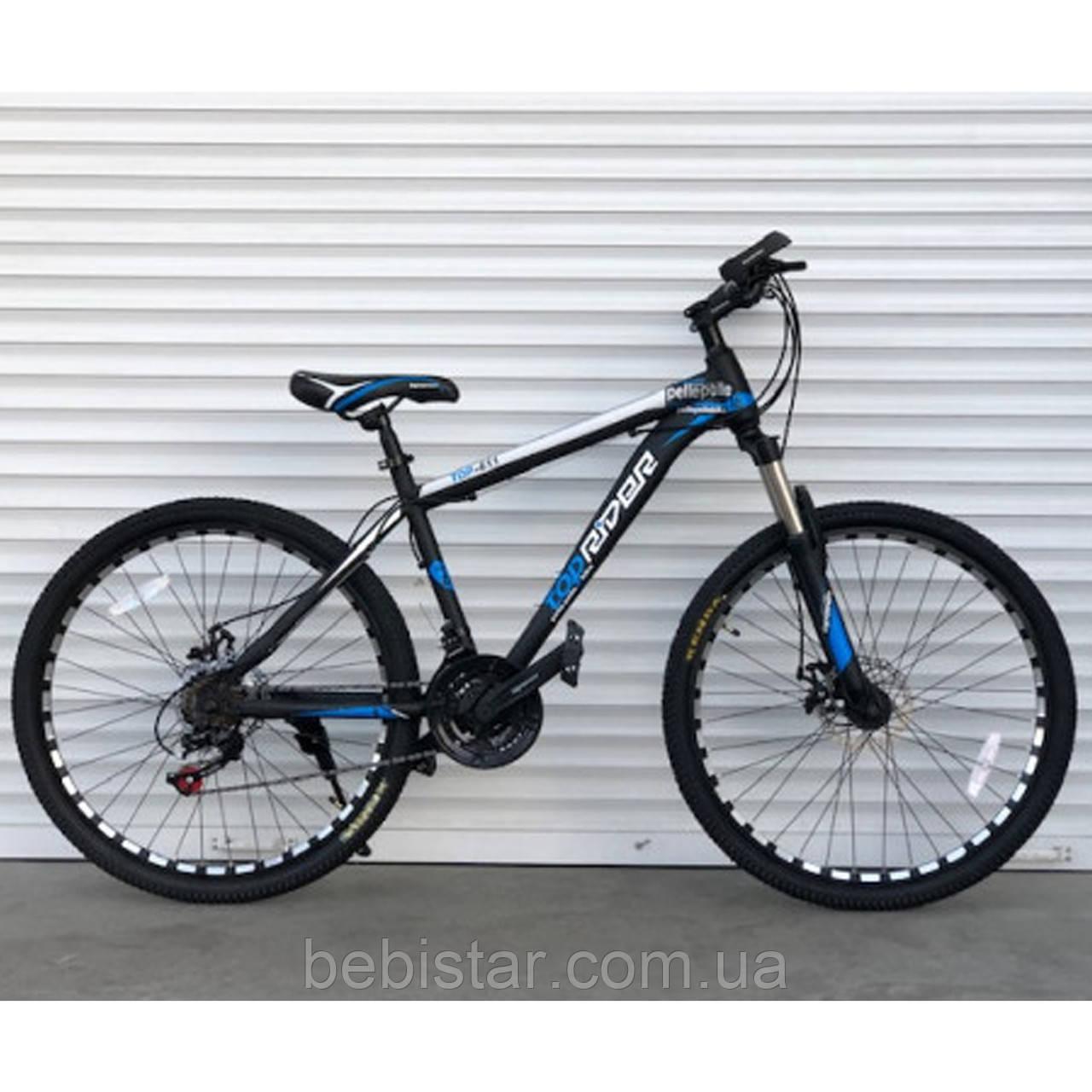 """Спортивный велосипед черный с синим ТopRider 29"""" металлическая рама 19"""" рост 170 - 185см"""