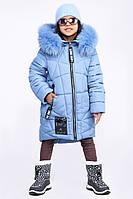 Детская зимняя куртка теплая для девочки джинс DT-8293-35