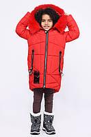 Детская зимняя куртка теплая для девочки красная DT-8293-14