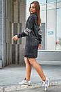 Платье женское спортивное, р. от 44 до 50, чёрное с люрексом, повседневное, молодёжное, городское, фото 5