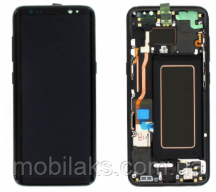 Дисплей (LCD) Samsung GH82-18852A G970 Galaxy S10e с сенсором чёрный с рамкой сервисный