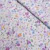 Сатин с густыми розово-голубыми цветами на молочном фоне, ширина 160 см