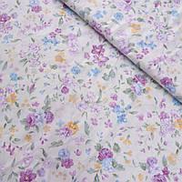 Сатин с густыми розово-голубыми цветами на молочном фоне, ширина 160 см, фото 1