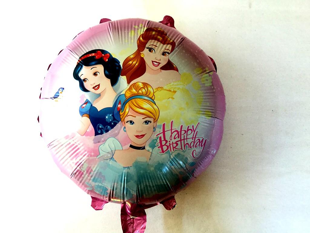 """Фольгированный шар круглый """"Принцессы """"с днём рожденья розовый"""