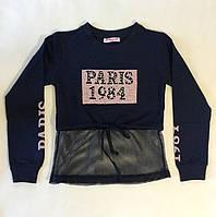 """Укороченный свитшот для девочек """"Париж"""" синий"""