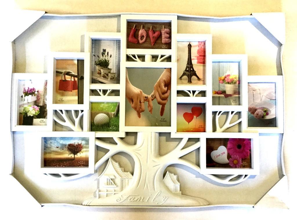 Фото коллаж на 12 фото Древо, белый