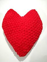 Подушка Сердце большая вязанная, размер 42*33 см, антистресс, холлофайбер
