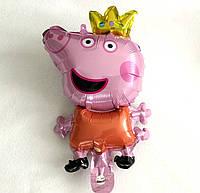 """Фольгированный шар фигурка маленькая """"Пеппа с короной """""""