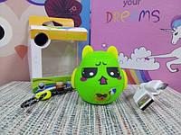Детский портативный мини  Bluetooth  динамик, колонка зеленый монстрик