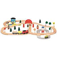 Деревянная железная дорога 70 элементов с электро паровозом Bino
