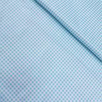 Сатин в мелкую голубую клетку, ширина 160 см