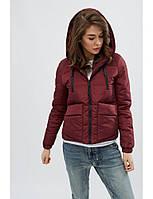 Стильная женская куртка демисезонная из нейлона на молнии с капюшоном (бордовая)