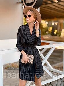 Платье пиджак,черное в полоску, 42-44, 44-46 р-р.
