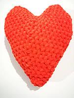 Подушка Сердце средняя вязанная, размер 27*21 см, антистресс, холлофайбер