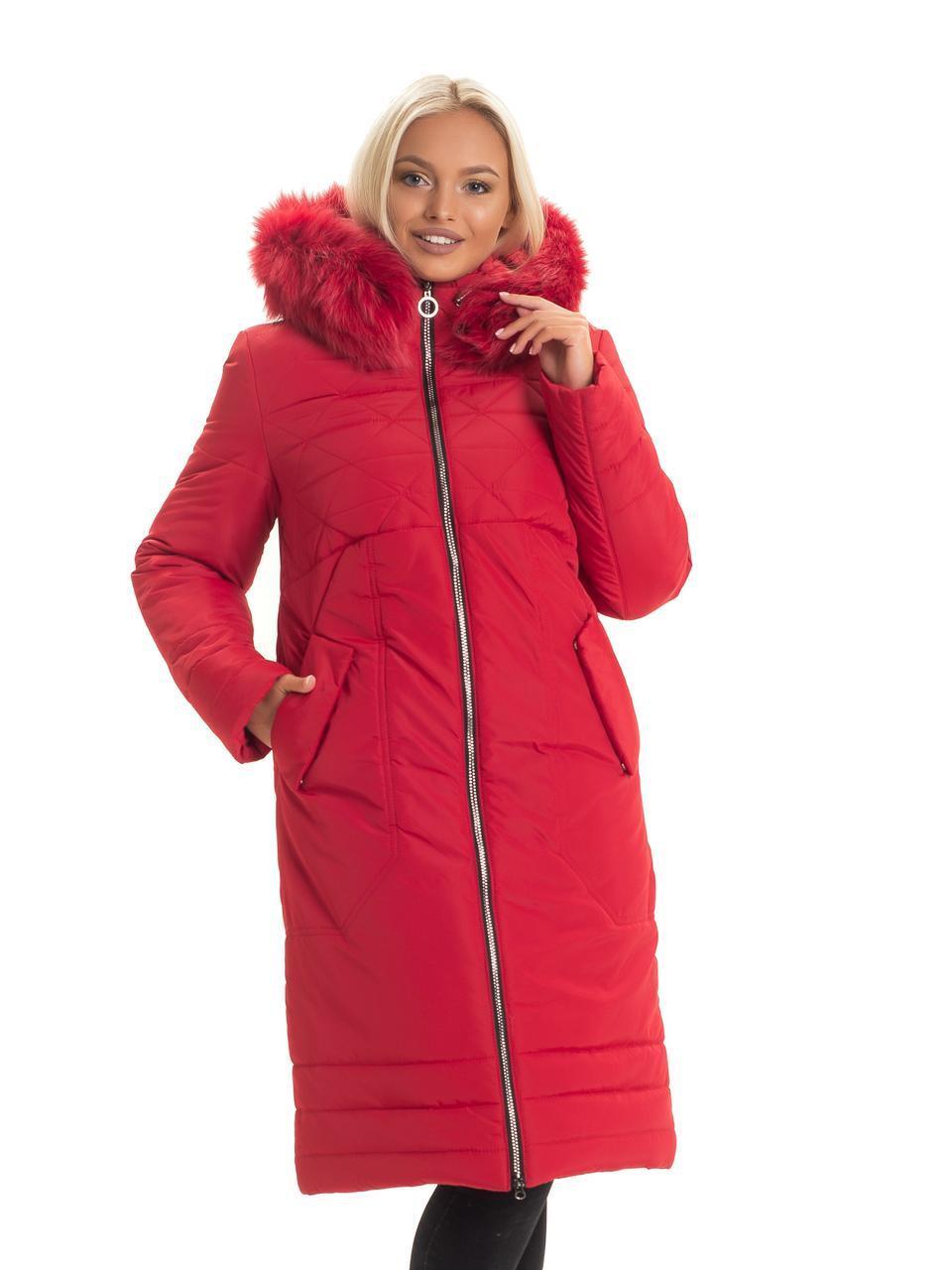 Женский длинный зимний пуховик / пальто с мехом красный батал / большихразмеров размер 44 46 48 50 52 54