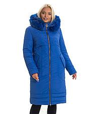 Женский длинный зимний пуховик / пальто с мехом красный батал / большихразмеров размер 44 46 48 50 52 54, фото 3