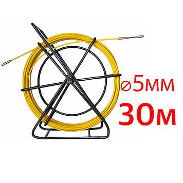 Кабельная протяжка, стеклопруток 5мм х 30м + 2 наконечника на тележке