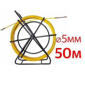 Кабельная протяжка, стеклопруток 5мм х 50м + 2 наконечника на тележке