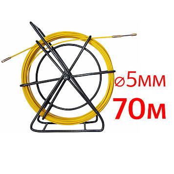 Кабельная протяжка, стеклопруток 5мм х 70м + 2 наконечника на тележке