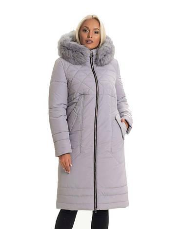 Женский длинный зимний пуховик / пальто с мехом серый батал / большихразмеров размер 44 46 48 50 52 54, фото 2