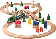 Деревянная железная дорога Woody с электро паровозом, фото 1